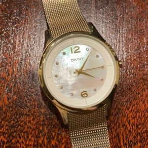 DKNY gold with pearl slim mesh watch NY4917